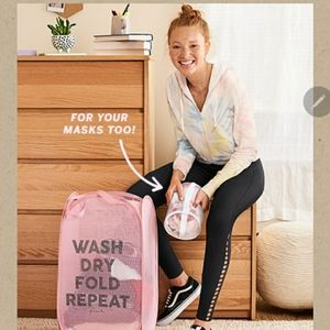 NWT VS Pink laundry basket wash fold repeat with m